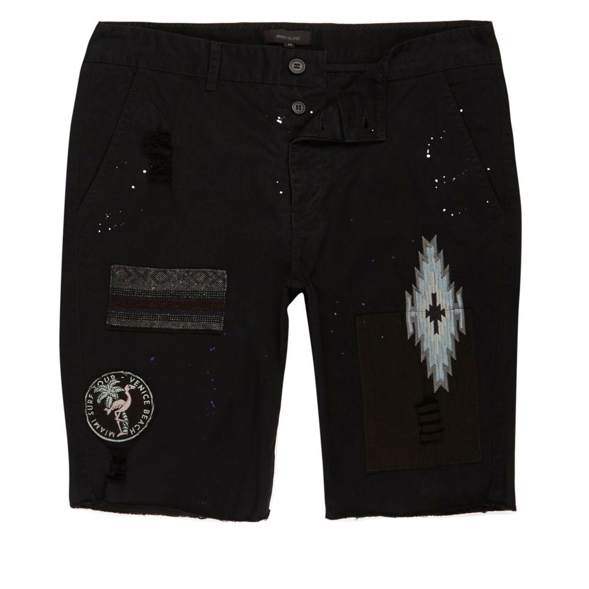 Black patch chino shorts