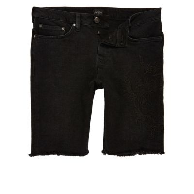 Zwarte stretch denim short in western-stijl