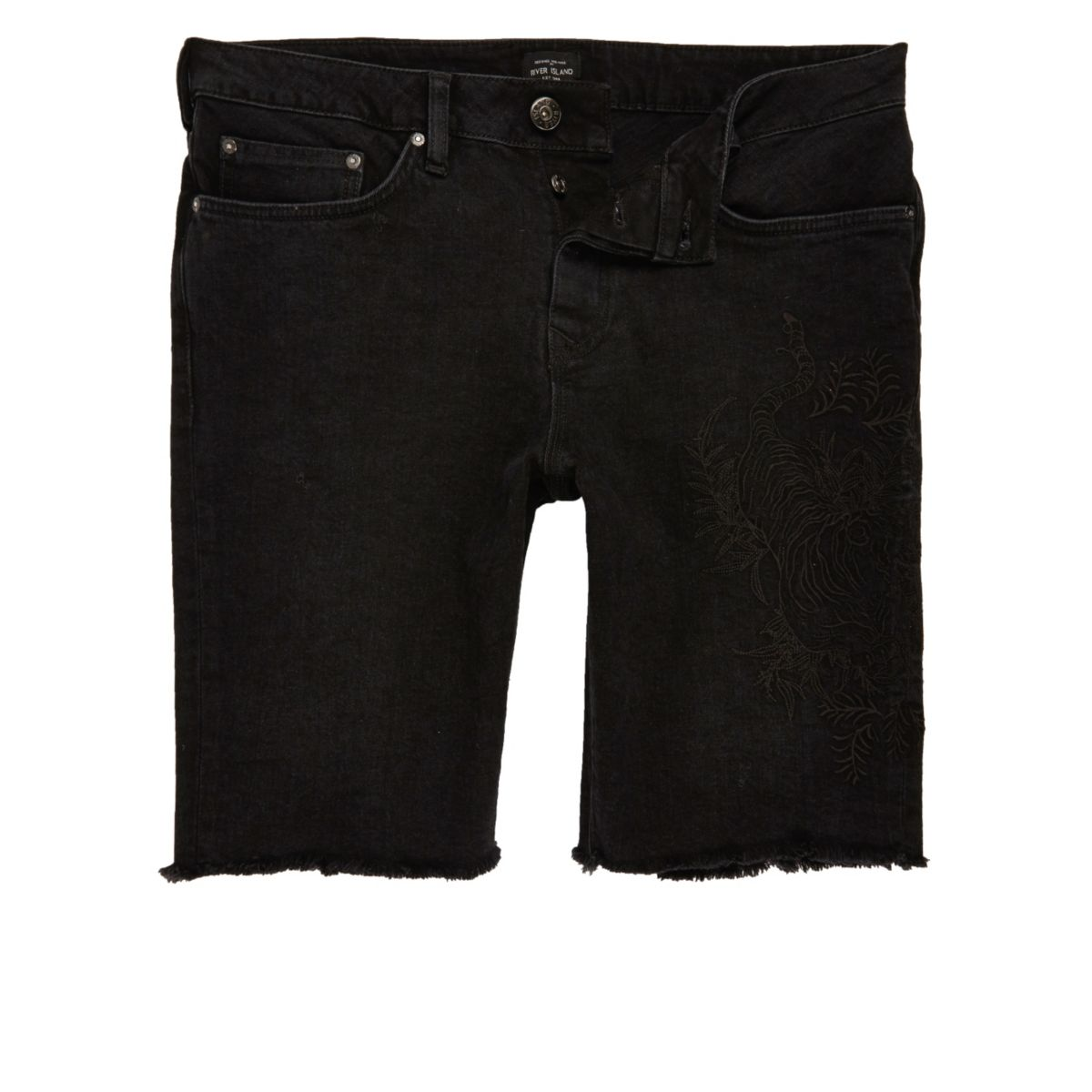 Black stretch denim western chain shorts