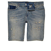 Blue peach wash distressed denim shorts