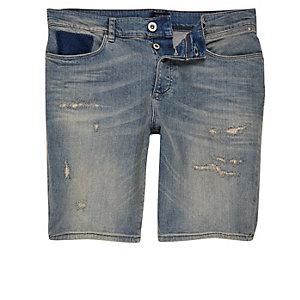 Short en jean usé bleu délavé