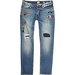 Sid blauwe wash ripped badge skinny jeans