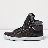 Grey leather zip hi tops