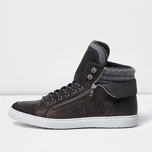 Grey leather zip hi tops