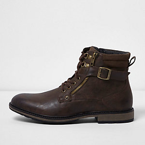 Dark brown buckle lace up boots
