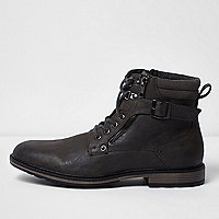 Grey buckle lace up boots