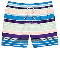 Short de bain bleu à rayures multicolores
