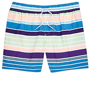 Blue multi coloured stripe swim shorts