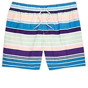 Blue multi coloured stripe swim shorts
