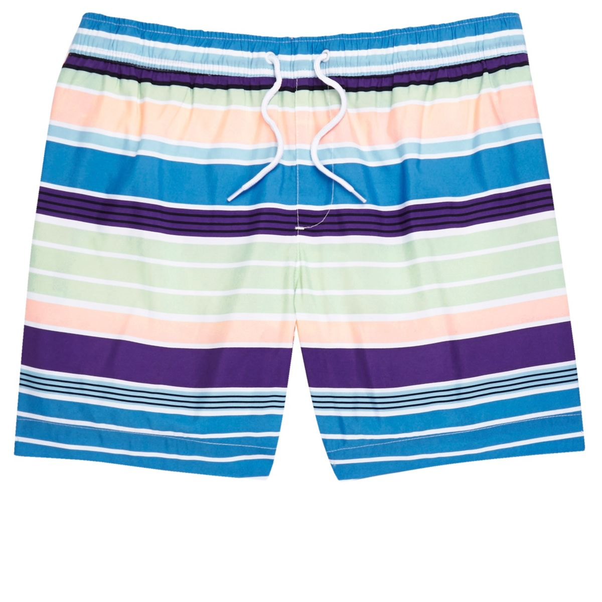 Blue multi colored stripe swim trunks
