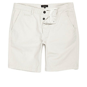 Kiezelkleurige slim-fit chinoshort