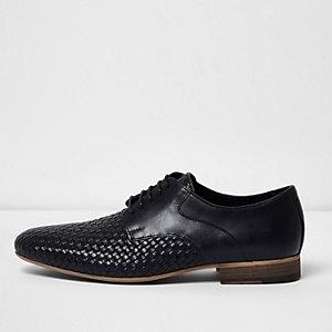 Black woven lace-up shoes