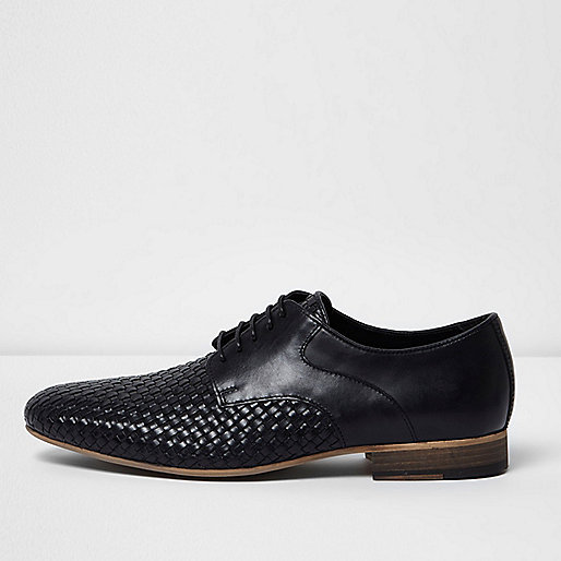 Black woven lace-up shoes