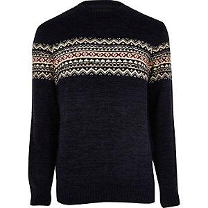 Navy fairisle knit Christmas jumper