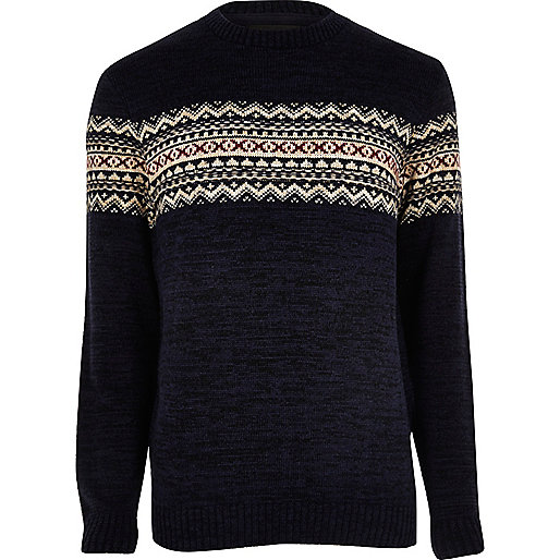 Navy fairisle knit Christmas jumper