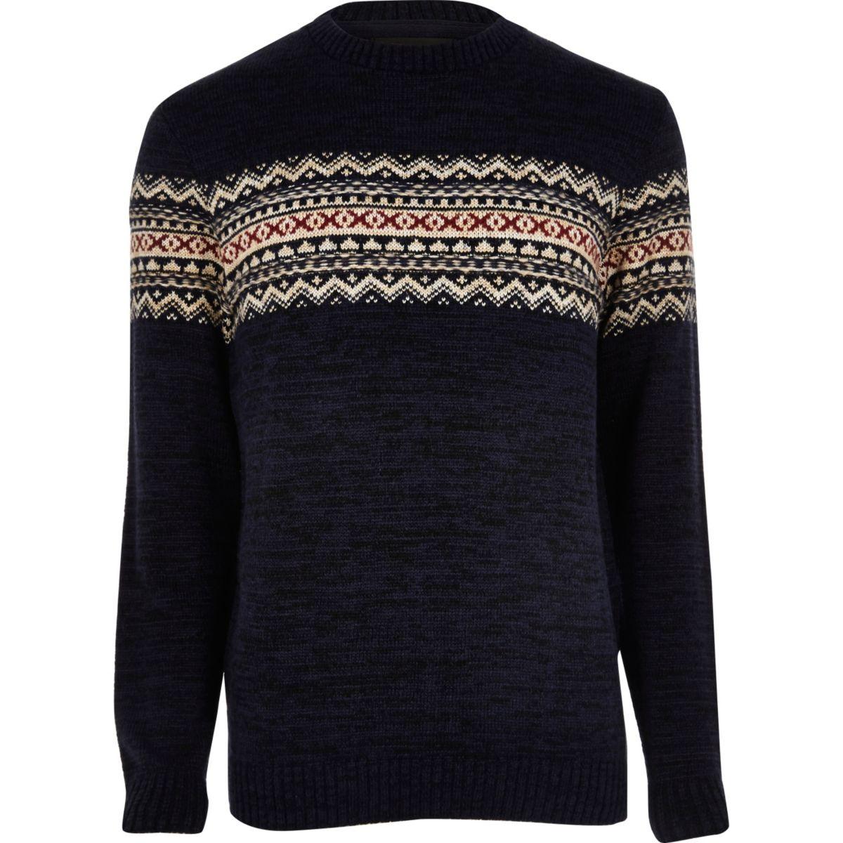 Navy fairisle knit Christmas sweater