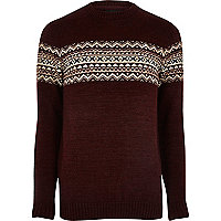 Burgundy fairisle knit sweater