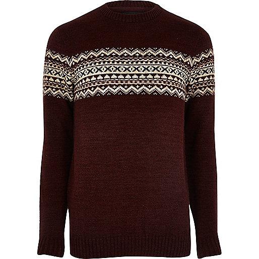 Burgundy fairisle knit sweater