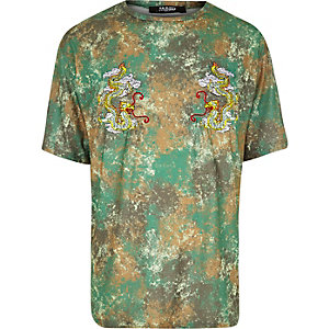 Jaded London – Grünes T-Shirt mit Camouflage-Muster