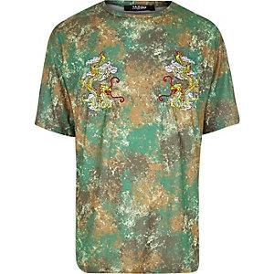 T-shirt Jaded London imprimé camouflage et dragon vert