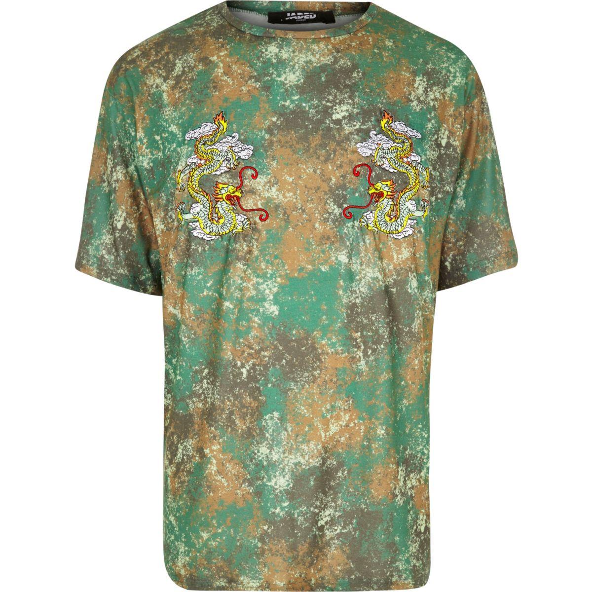 Green Jaded London camo dragon T-shirt
