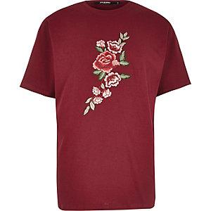 Jaded London – Verziertes T-Shirt in Bordeaux