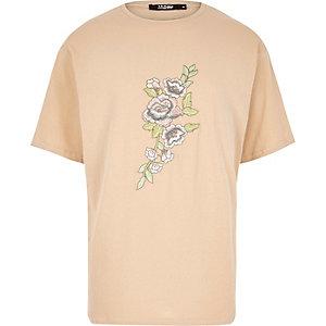T-shirt Jaded London marron clair brodé