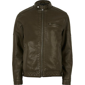 Green racer neck faux leather jacket
