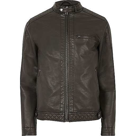 Brown racer neck faux leather jacket