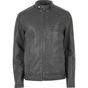 Jacke aus Lederimitat mit Racer-Kragen
