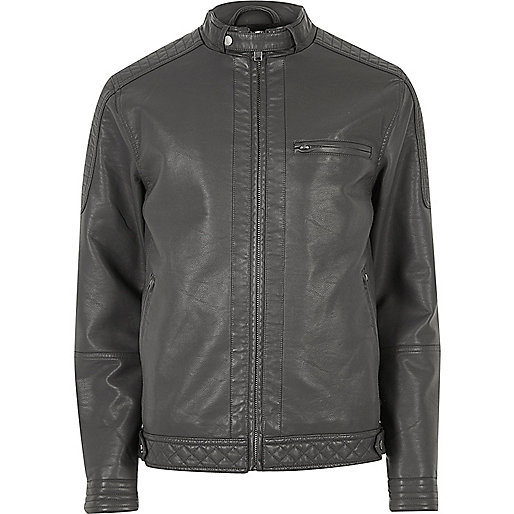 Grey racer neck faux leather jacket