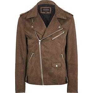 Stone textured biker jacket