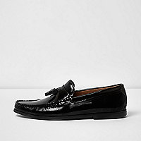 Black patent tassel loafers