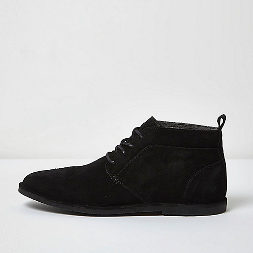 Black borg lined suede chukka boots