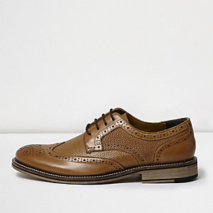 Tan textured leather brogues