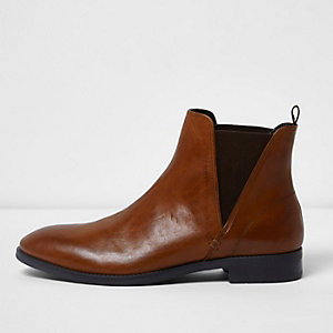 Bottines Chelsea en cuir marron moyen