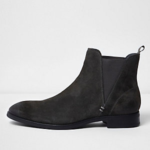 Bottines Chelsea en daim gris anthracite