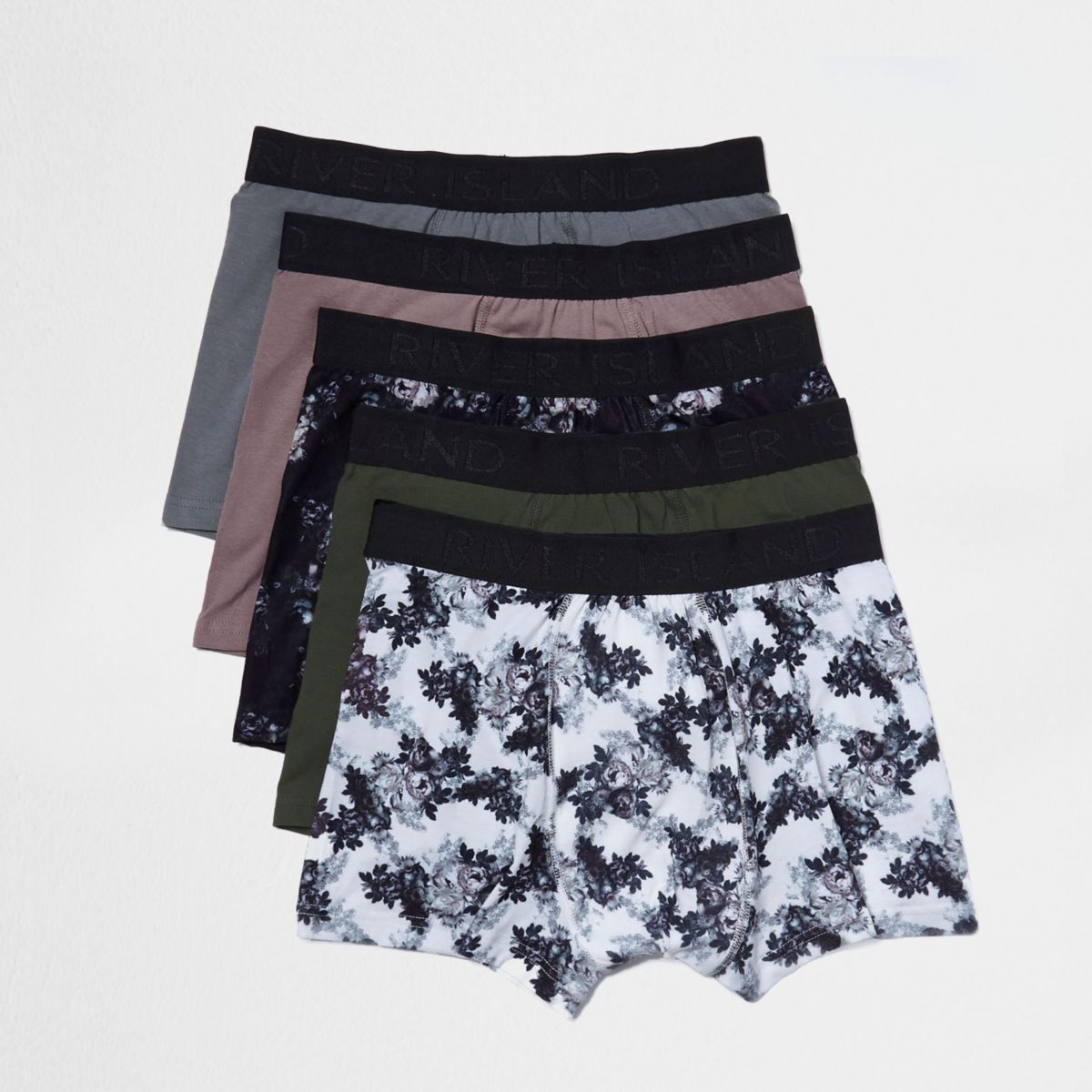 White floral print hipster boxers pack
