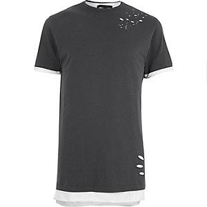 Grey distressed layered longline T-shirt
