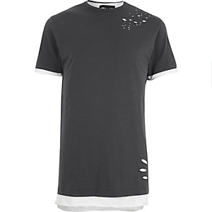 Grey distressed layered longline T-shirt