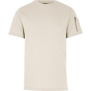 Kiezelkleurig T-shirt met rits op de mouw