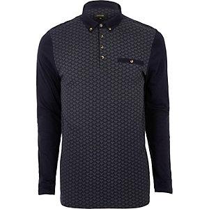 Marineblaues, gemustertes Poloshirt