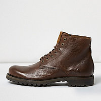Brown textured leather boots