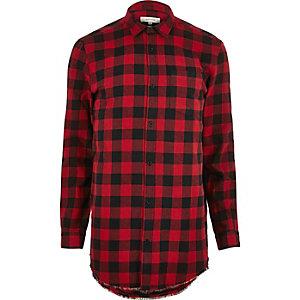 Red flannel buffalo check raw hem shirt