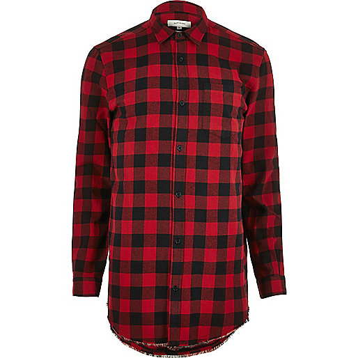 Red flannel buffalo check raw hem shirt