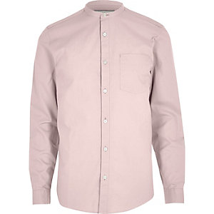 Dusty pink Oxford grandad shirt