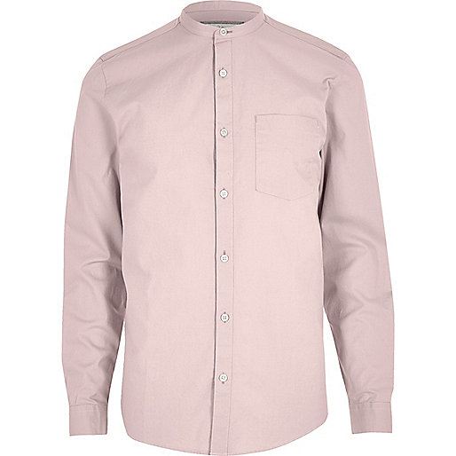 Dusty pink Oxford grandad shirt