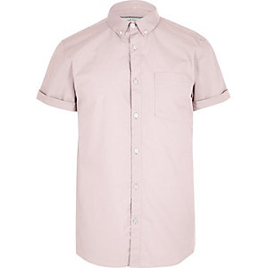 Dusty pink casual Oxford short sleeve shirt