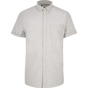 Grey casual short sleeve Oxford shirt