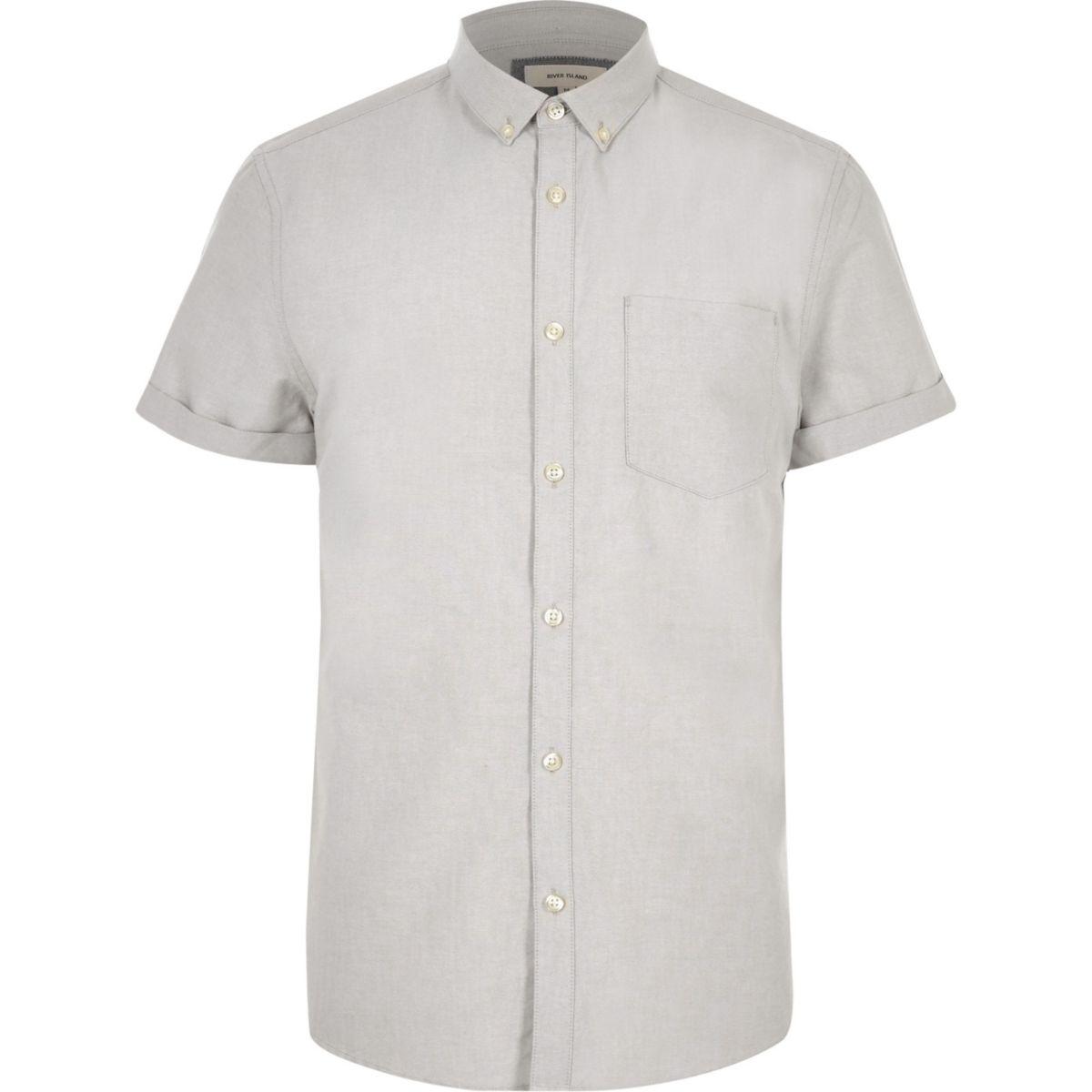 Grey casual short sleeve Oxford shirt